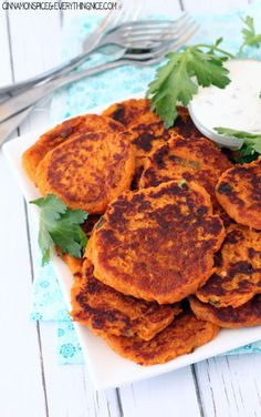 Spicy Sweet Potato Fritters with Sour Cream Dipping Sauce Recipe on Yummly