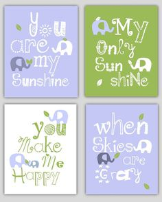 Kids Wall Art Light Blue and Green Nursery Decor Prints You Are My Sunshine Elephant and leaf - 8x10 - baby shower gift, for boy or girl