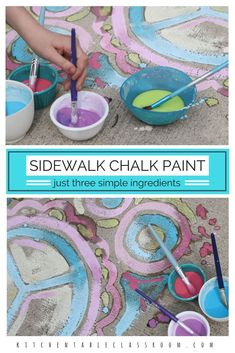 My kids love sidewalk chalk paint but buying it is expensive. But being stingy with supplies takes the fun out making art. This sidewalk chalk paint DIY recipe is so easy and inexpensive to make your kids can even do it themselves. Three ingredients that Projects For Kids, Diy For Kids, Crafts For Kids, Art Projects, Outdoor Fun For Kids, Summer Activities, Craft Activities, Outdoor Activities For Preschoolers, Indoor Activities
