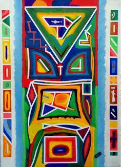 Aztec Abstract Painting Aztec Art, Box Frames, Oil Painting On Canvas, Wrapped Canvas, Abstract Art, Vibrant, Clay, Colors, Artist
