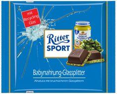 Ritter Sport Fake Schokolade   Babynahrung - Glassplitter