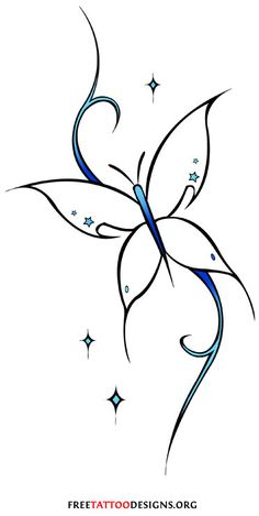 Feminine tribal butterfly tattoo design