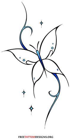 Feminine tribal butterfly tattoo design