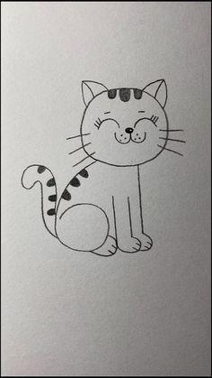 Easy Cartoon Drawings, Cute Easy Drawings, Cute Little Drawings, Art Drawings For Kids, Art Drawings Sketches Simple, Doodle Drawings, Animal Drawings, Cute Cat Drawing Easy, Cat Doodle