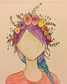 """I saw a portrait done by @mikipietak and she said she followed a tutorial by @magmagandme. I had to try. So this is what I came up with. It's in the front cover of my bible. """"This bible belongs to""""  complete with my mermaid hair and my beauty mark  this is definitely me (I love floral crowns!!!) by saline_queen"""