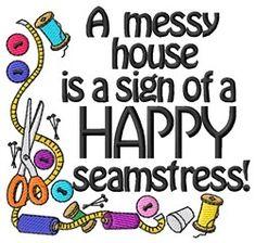 Grand Slam Designs Embroidery Design: Happy Seamstress 3.74 inches H x 3.93 inches W