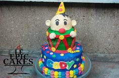 Circus Clown themed two tier cake