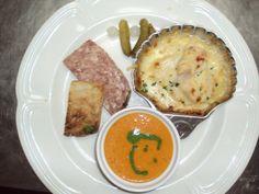 Appetizer Trio: Lobster & Scallop Gratin, Tomato Basil Soup and Country Pate - Mon Ami Gabi