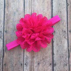 Pink Flower Headband - Pink Eyelet Flower Hair Clip - Elastic Headband - Pink Headband - Pink Headband - baby headband - Newborn girl - Pink by BBgiftsandmore on Etsy