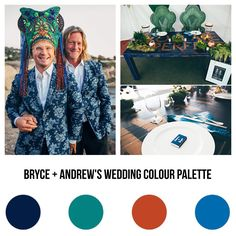 Flamboyantly outré gay wedding | Colours: (L-R): navy, peacock, red clay & indigo bunting | Palos Verde California | Images by: @cuckoosnestwest
