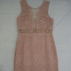 Dusty pink lace dress Scalloped hemline and mesh front great for V-Day, day or night! Lush Dresses