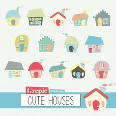 "Houses clip art: Digital clipart ""CUTE HOUSES"" pack with hand drawn colorful homes forming a village"