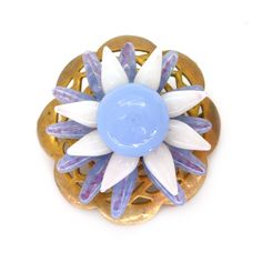 Vintage 1940s French Pastel Purple Glass Flower Brooch | Clarice Jewellery