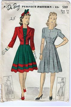 1940 Vintage Dress Patterns   Vintage 1940s Dress and Jacket Pattern with Pleated Skirt and Bolero.