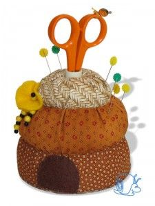 Bee Happy Hive Pincushion, the instructions are not quite what the picture shows, but it's fixable.
