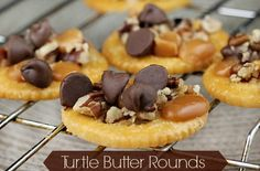 Turtle Butter Rounds These treats are delicious with the sweet and salty combination we love along with chocolate,pecans and caramel.