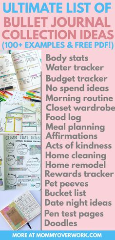 Great list of bullet journal collection ideas! Lots of pretty examples of spreads, layouts to help me track the setup of my pages. Great inspiration! Loved the weekly spread, font tips, cleaning, books, fitness, finance trackers. Nicely organized by category from health, college student, organization, reflection, etc   #bulletjournal #bulletjournallove #bulletjournaladdict #bulletjournaljunkie #bujolove #bujoinspire #bujoinspiration #bujocommunity #bujojunkies