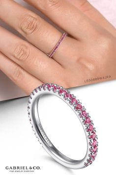 14K White Gold Ruby Stackable Ring LR50889W4JRA#GabrielNY #UniqueJewelry #Stackable#DiamondStackable#StackableRings #RubyStackableRing Wedding Men, Wedding Bands, Gabriel Jewelry, Metal Necklaces, Stackable Rings, Birthstone Jewelry, Diamond Clarity, Fashion Necklace, Colored Diamonds