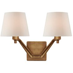 Sconces Union Double-Arm Glass Sconce Antiqued Brass Sconces ($629) ❤ liked on Polyvore featuring home, lighting, wall lights, arm lamp, glass wall lights, antique brass sconce, glass lamps and dual light