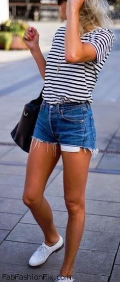 #summer #spring #outfit #style #cool #short #white #blue #bag #sneakers #shirt #stripes