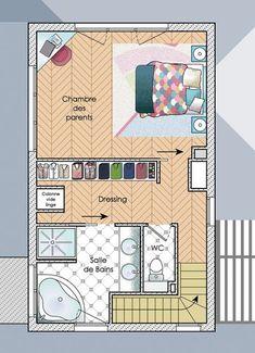 plan idée suite parentale salle de bain dressing combles aménagées