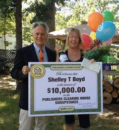 "Join us congratulating Shelley Boyd from Red Oak Texas who won $10,000 today from #PCH! Shelley wasn't home when the Prize Patrol arrived...in fact she was over an hour and a half away camping! The Prize Patrol traveled there and surprised her with that ""big check!"" Don't you love that dedication?!"