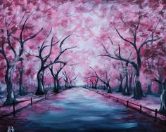 House & Garden garden state ale house new brunswick Cute Canvas Paintings, Easy Canvas Painting, Diy Canvas Art, Light Painting, Landscape Drawings, Landscape Art, Oil Pastel Drawings Easy, Cherry Blossom Painting, Cherry Blossoms