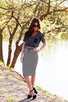 high waisted stripe skirt.