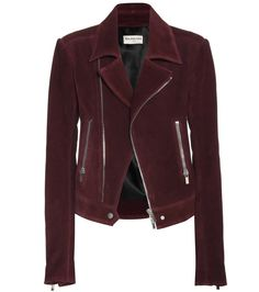 Balenciaga - Suede biker jacket - Balenciaga brings together the beautiful and the rebellious in this biker jacket. Crafted from super-soft dark maroon-red suede, it has symmetrical zipped pockets and classically diagonal lapels. The curved silhouette combines with the metallic details in harsh harmony that makes for an achingly cool look. seen @ www.mytheresa.com
