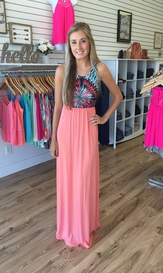 Kate Coral Abstract Print Maxi - The Style Bar Boutique  - 1