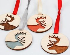 Love these Wooden Reindeer Ornaments www. Love these Wooden Reindeer Ornaments www. Wooden Christmas Ornaments, Reindeer Ornaments, Christmas Wood, Christmas Projects, Christmas Decorations, Ornaments Ideas, Fish Ornaments, Christmas Cookies, Xmas