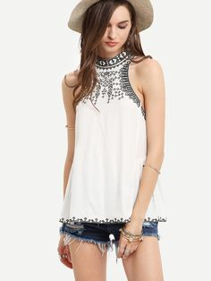 13386e81188a2 White Embroidered Hollow Back Tank Top