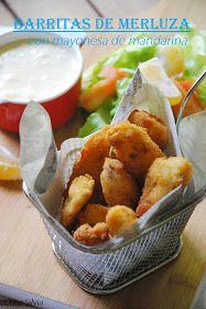 barritas de merluza caseras, merluza rebozada, pescado, mayonesa de mandarina, chez silvia