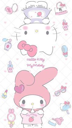 My Melody and Hello Kitty Hello Kitty Iphone Wallpaper, My Melody Wallpaper, Hello Kitty Backgrounds, Sanrio Wallpaper, Kawaii Wallpaper, Wallpaper Stickers, My Melody Sanrio, Hello Kitty My Melody, Sanrio Hello Kitty