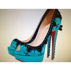 Christian Laboutin pumps shoes in turquoise and black