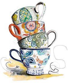 Tea Cup Border Clip Art | Tea cups
