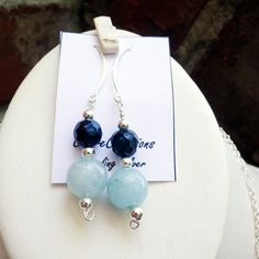 Aquamarine and Black Pearl Sterling Silver Earrings by clairecreations on Etsy