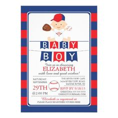 "Cute Baseball Boys Baby Shower Invitation 5"" X 7"" Invitation Card"