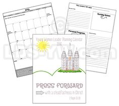 Printable YW Presidency 2015 Calendar Planner Embark in
