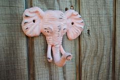 Pale Pink ELEPHANT Hook/ Cast Iron Wall Hooks/ Safari Decor/ Shabby Chic/ Key Hanger/ Coat Rack/ Nursery/ Anthropologie Inspired on Etsy, $12.99  Can do in any color!