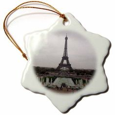 3dRose Photograph Of the Eiffel Tower In Paris France, Snowflake Ornament, Porcelain, 3-inch