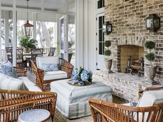 Looking for the best house plans? Check out the Crane Island River House plan from Southern Living. Sunroom Decorating, Decorating Ideas, Decor Ideas, Southern Decorating, Interior Decorating, Southern Living Homes, Cottage Homes, House Tours, Outdoor Furniture Sets