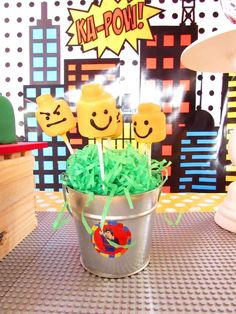 Marshmallow pops at a Lego Superhero birthday party! See more party ideas at CatchMyParty.com!