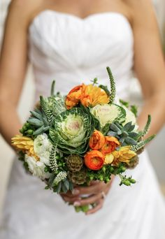 bridal wedding bouquet, flowering kale,ranunculus, sedum, succulent, veronica, scabiosa seed heads, orang and white and green, hypericum berries