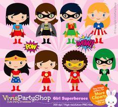 GIRL SUPERHEROES Clipart Printable Instant by VivisPartyShop