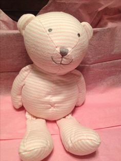 Carters Pink and White Stripped Soft Knit Teddy Bear