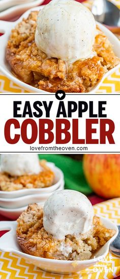 My family could not get enough of this easy apple cobbler recipe! Such a great fall apple dessert, we like it a la mode with ice cream on top! # simple Desserts The Best Easy Apple Cobbler Recipe Baked Apple Dessert, Apple Dessert Recipes, Easy Apple Desserts, Apple Snacks, Dessert Simple, Mini Desserts, Baking Desserts, Desserts With Apples, Apple Cobbler Easy