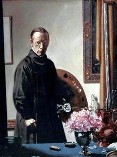 Howard Somerville, Esq. (In the Studio) by Howard Somerville (1873-1952) - Like this black high-necked smock - but he looks ever so serious! Black features a great deal in this artists work, perhaps it reflected a not-so-sunny disposition.