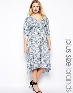 Lucabella Plus Size Shaped Hem V Neck Dress - marble