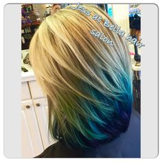 Fun turquoise and blue hair
